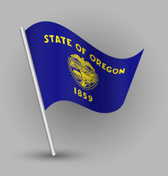 Waving triangle american state flag oregon vector