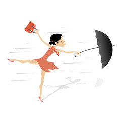Windy weather young woman and umbrella isolated vector