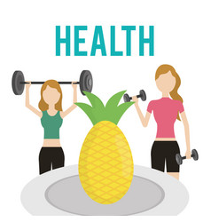 women with dumbbell barbell and pineapple health vector image