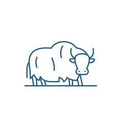 Yak line icon concept yak flat symbol vector