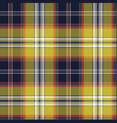 yellow blue check tartan pixel seamless pattern vector image
