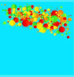 yellow red green watercolor drops on the vector image