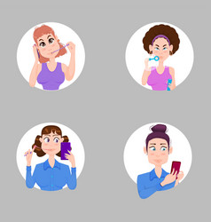 young girls stickers set characters flat style vector image