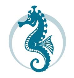 Blue seahorse vector image