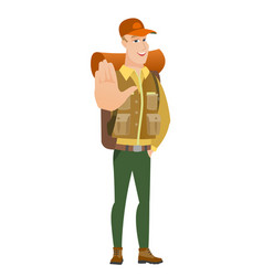caucasian traveler showing palm hand vector image vector image
