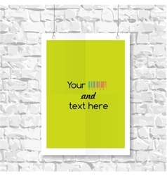 Empty blank on a brick wall vector image vector image