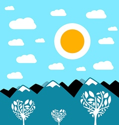 Flat Design Mountain Landscape vector image