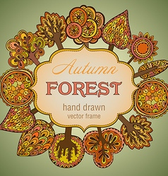 Hand drawn frame with autumn trees vector image