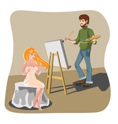 model woman character posing artist vector image