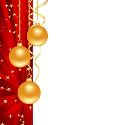 red background with christmas decorations vector image
