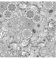 round ornamental flower and leaves pattern vector image vector image