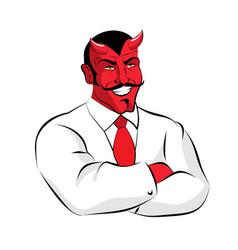satan boss devil businessman in white suit red vector image