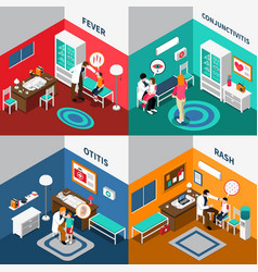 child diseases colorful isometric compositions vector image vector image