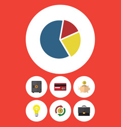 Flat icon finance set of money box graph payment vector