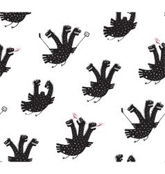 Funny Comic Humorous Seamless Pattern Dragon Hand vector image vector image