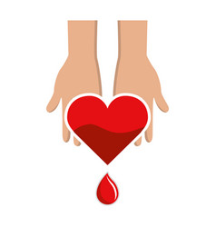 hands with blood heart drop donation symbol vector image