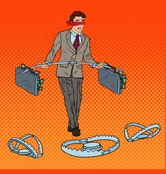 pop art blindfolded businessman walking with money vector image