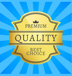 premium quality best choice golden label isolated vector image vector image