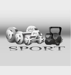 sport equipment fitness weights gray vector image