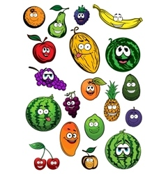 Tropical and garden fruits characters vector image vector image
