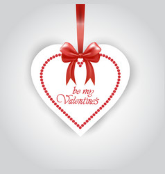 valentines day sticker hanging on red ribbon on vector image
