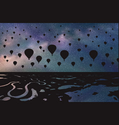 Air balloons flying in night vector