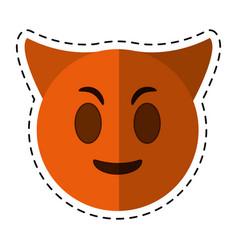 cartoon devil emoticon funny icon vector image