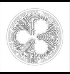 crypto currency ripple black and white symbol vector image vector image