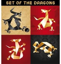 dragon origami vector image vector image