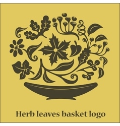 Flower leaves basket logo vector image vector image