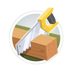 Hacksaw cut wooden board vector image vector image