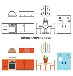 kitchen and dining room furniture and accessories vector image