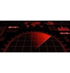 Radar screen with futuristic user interface HUD vector image vector image