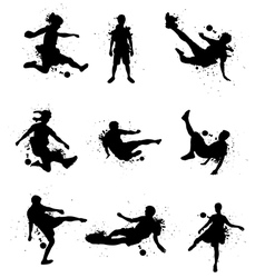 Soccer players silhouette with color splash vector image vector image