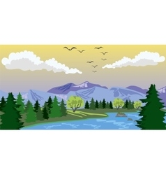 Beauty landscape with lake and mountain vector image