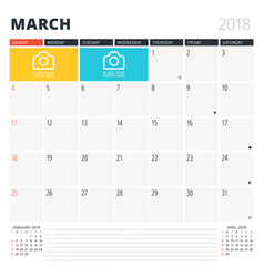 calendar planner for march 2018 design template vector image vector image