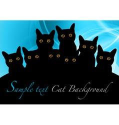 cat black background blue vector image vector image