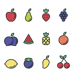 Fruit icon set flat design isolated vector image vector image