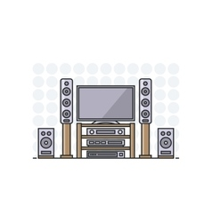 home cinema system in flat line stile Isolated vector image vector image