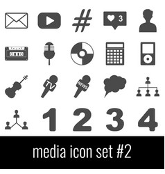 media icon set 2 gray icons on white background vector image vector image