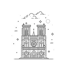 notre dame de paris made in outline vector image vector image