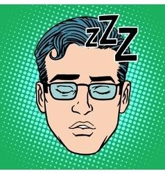 Retro Emoji sleeping male face vector image vector image