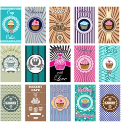 set of business cards for bakery coffee vector image