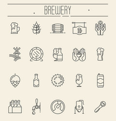 set of thin line icons of beer and brewery vector image