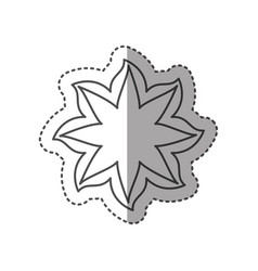 sticker black contour line with flower icon vector image