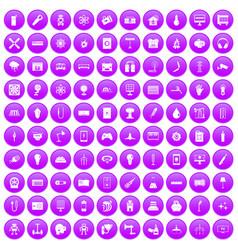 100 energy icons set purple vector image