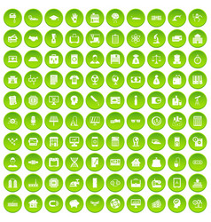 100 loans icons set green circle vector