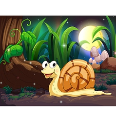 A snail in the forest vector