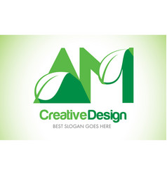 Am green leaf letter design logo eco bio leaf vector