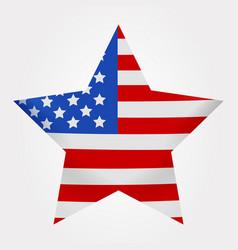 American flag print as star shaped symbol big vector